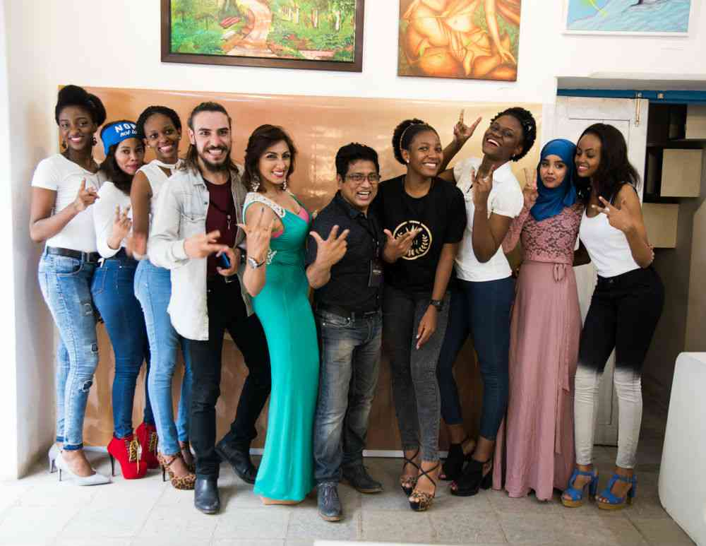 Contestants and judges at the audition in Hyderabad. Photo credit: www.missafricaindia.com.
